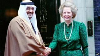 King Fahd of Saudi Arabia shakes hands with Margaret Thatcher - London 25 March 1987