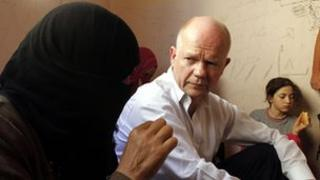 William Hague meets Syrian refugees in Jordan in 2012