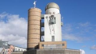 Observatory in front of Swansea marina