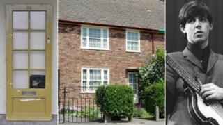 Composite of Paul McCartney's old door, his old house, and a picture of him from the Beatles days