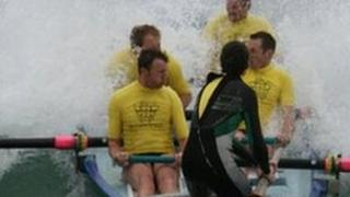 Perranporth surf rowers in competition