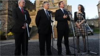 Prime Minister David Cameron meets First Minister Peter Robinson , Deputy First Minister Martin McGuinness and Secretary of State for Northern Ireland Theresa Villiers