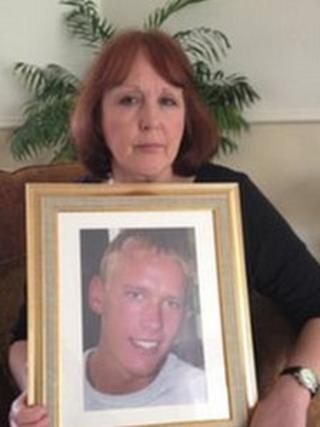 Julie Handford with photo of her son Mark