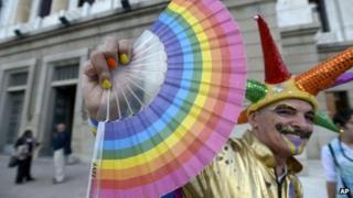 Gay activist outside the Uruguayan Congress
