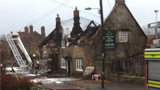 The fire-damaged Castle Inn, West Coker