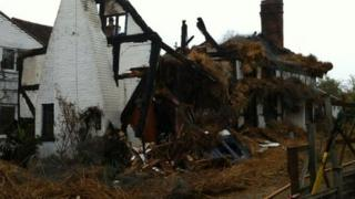 Cottage destroyed by fire