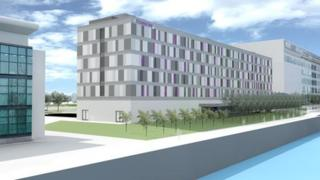 CGI image of the Premier Inn planned for Pacific Quay