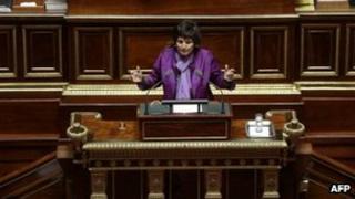 French Family minister Dominique Bertinotti addresses the senators in the semicircle of the French Senate in Paris, on 4 April 2013