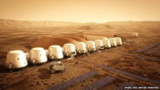 Artists conception of the Mars One settlement in 2025