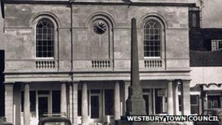 Historic photo of war memorial in Westbury Market Place