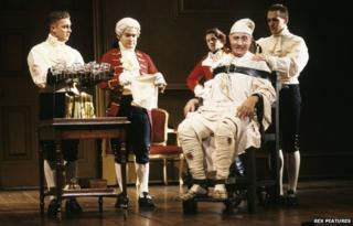 A scene from the play The Madness of George III, featuring Nigel Hawthorne