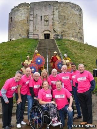Marathon supporters at York castle