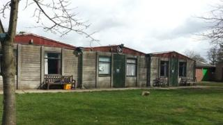 Huts at Little Abington Campsite, south Cambridgeshire