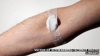 Man's arm after having a blood test