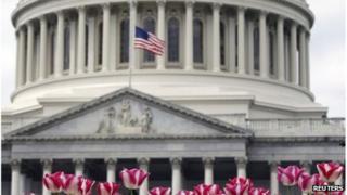 A flag at half-mast in Washington DC 16 April 2013