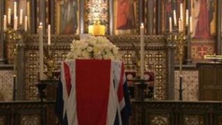 Baroness Thatcher's coffin