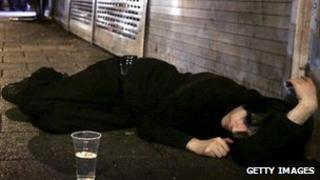 Man passed out on street after drinking too much