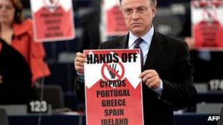 MEPs' protest over Cyprus, 17 Apr 13