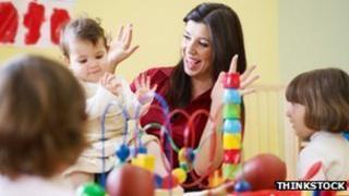 Nursery children + teacher