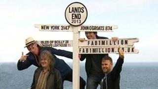 Chris Evans, James May, Professor Brian Cox and Gary Barlow at Land's End