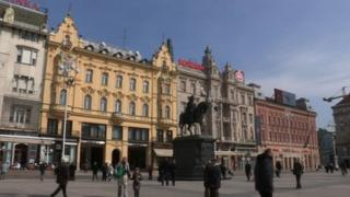 A view of Zagreb's central Ban Jelacic Square