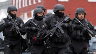 SWAT team in Boston search