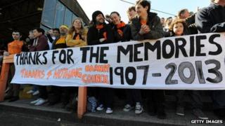 Supporters at Barnet's final match at Underhill
