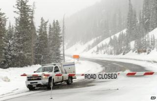 Highway 6 remains closed at Loveland Pass, Colorado, 20 April