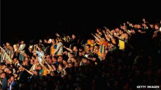 Mansfield Town fans celebrate