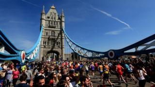 London Marathon runners at Tower Bridge