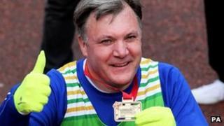 Ed Balls after finishing his second marathon