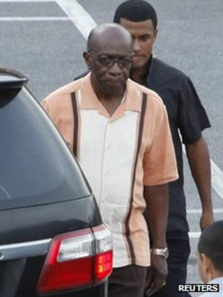 Jack Warner leaves an emergency cabinet meeting in Trinidad, 21 April