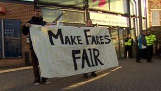 Campaigners hold a make fares fair rally