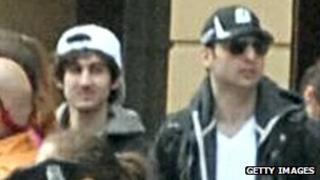 Dzhokhar Tsarnaev (L) and his brother Tamerlan at the Boston marathon
