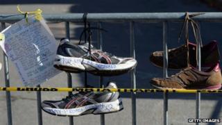 Memorial to the victims of the Boston Marathon attacks, in Boston, on 21 April 2013