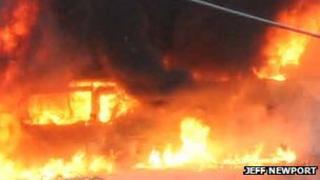 Arriva bus on fire in West Kingsdown on 22 April 2013