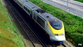 Eurostar train travelling between London and the coast
