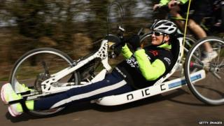 Claire Lomas training at Whitwell Leisure Park, Rutland