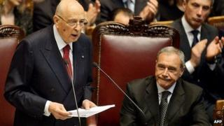 Italy's President Giorgio Napolitano at his swearing in 22/4/2013