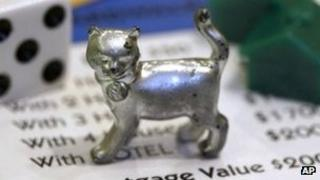 Cat playing piece from Hasbro's Monopoly board game