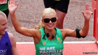 Katherine Jenkins after running the London Marathon
