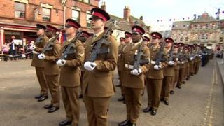 Royal Artilery soldiers march through Oakham