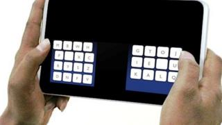 The new keyboard layout is designed to aid type with two thumbs