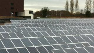 Solar panels in a field at Dalkeith