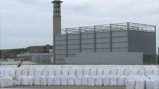 Ash in sacks at La Collette incinerator