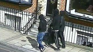 CCTV showing the three people police want to trace