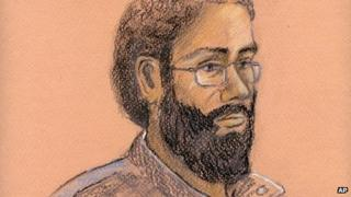 This courtroom artist sketch shows Chiheb Esseghaier in a Toronto courtroom on 24 April 2013