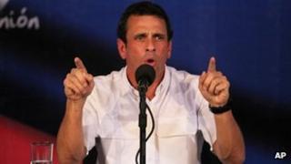Venezuelan opposition leader Henrique Capriles speaks at a news conference in Caracas, Venezuela, on Wednesday