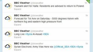 Hacked BBC Weather Twitter account