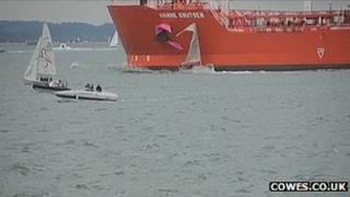 Yacht and tanker collide
